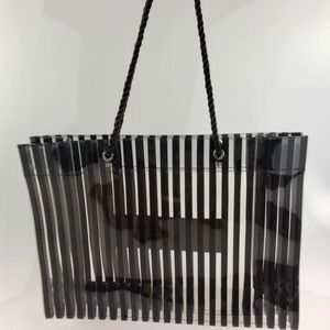 Henri Bendel Striped Shopper Brown Vinyl Tote
